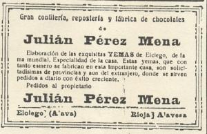 Propaganda en un periódico de 1924 sobre sus afamadas yemas